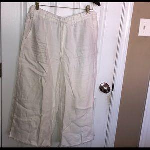 Anthropologie white linen pants